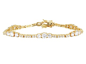 Cubic Zirconia 18 K Yellow Gold Over Sterling Silver Bracelet 12.04ctw
