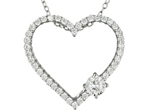 Cubic Zirconia Rhodium Over Silver Pendant With Chain 1.03ctw