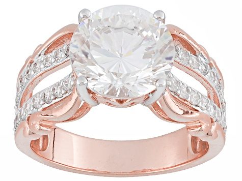 White Cubic Zirconia 18k Rose Gold Over Silver Ring 6.83ctw