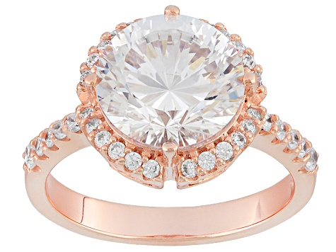 White Cubic Zirconia 18k Rose Gold Over Silver Ring 6.70ctw