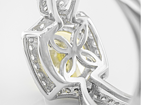 Yellow And White Cubic Zirconia Sterling Silver Ring 5.08ctw
