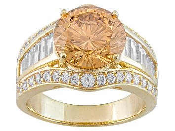 Picture of Brown And White Cubic Zirconia 18k Yellow Gold Over Sterling Silver Ring 8.24ctw