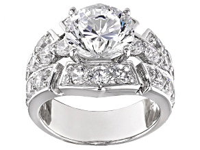 Cubic Zirconia Sterling Silver Ring 10.48ctw