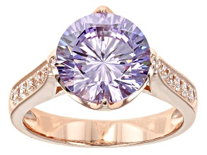 Purple And White Cubic Zirconia 18k Rose Gold Over Silver Ring 7.08ctw
