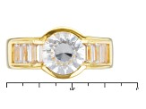 White Cubic Zirconia 18k Yellow Gold Over Silver Ring 4.98ctw