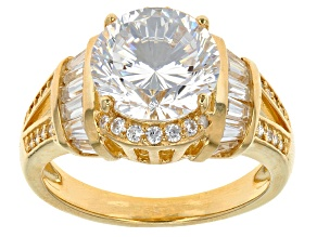 White Cubic Zirconia 18k Yg Over Silver Ring 5.72ctw
