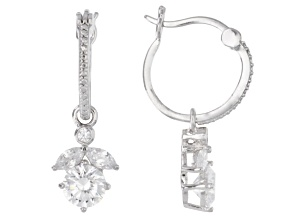 Cubic Zirconia Rhodium Over Sterling Silver Earrings 3.79ctw