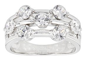 White Cubic Zirconia Rhodium Over Sterling Silve Rring 3.15ctw