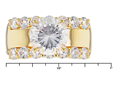 White Cubic Zirconia 18k Yellow Gold Over Silver Ring 7.29ctw