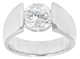 Cubic Zirconia Rhodium Over Sterling Silver Ring 3.15ctw