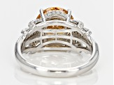 Brown And White Cubic Zirconia Rhodium Over Silver Ring 6.42ctw