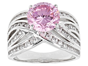 Pink And White Cubic Zirconia Sterling Silver Ring 6.36ctw