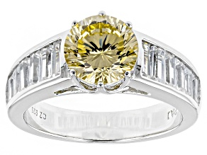 Yellow And White Cubic Zirconia Rhodium Over Silver Ring 5.35ctw