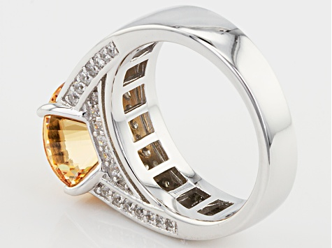 Brown And White Cubic Zirconia Rhodium Over Sterling Silver Ring 7.72ctw