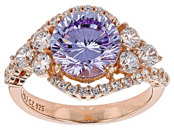 Picture of Purple And White Cubic Zirconia 18k Rose Gold Over Sterling Silver Ring 6.47ctw