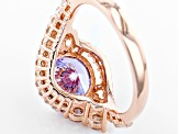 Purple And White Cubic Zirconia 18k Rose Gold Over Sterling Silver Ring 6.47ctw