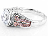 Pink And White Cubic Zirconia 18k Rg Over Silver And Rhodium Over Silver Ring 5.74ctw