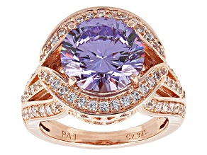 Purple And White Cubic Zirconia 18k Rose Gold Over Silver Ring 7.57ctw