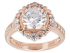White Cubic Zirconia 18k Rose Gold Over Silver Ring 3.83ctw