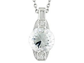 White Cubic Zirconia Rhodium Over Sterling Silver Pendant With Chain 3.47ctw