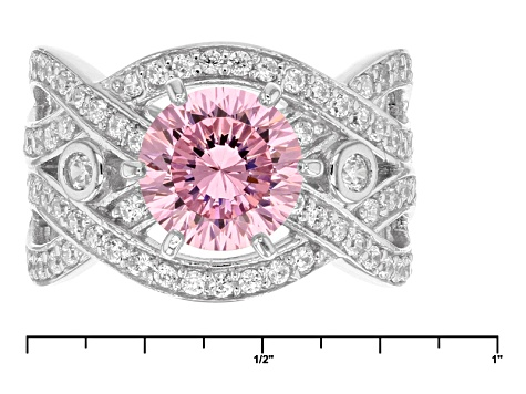 Pink And White Cubic Zirconia Rhodium Over Sterling Silver Ring 4.31ctw
