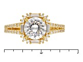 White Cubic Zirconia 18k Yg Over Silver Ring 2.66ctw