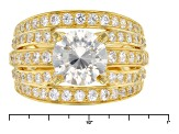 White Cubic Zirconia 18k Yellow Gold Over Sterling  Silver Ring 5.17ctw