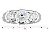 White Cubic Zirconia Rhodium Over Sterling Silver Ring 4.15ctw