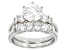 Cubic Zirconia Rhodium Over Sterling Silver Ring With Band 4.54ctw (2.82ctw DEW)