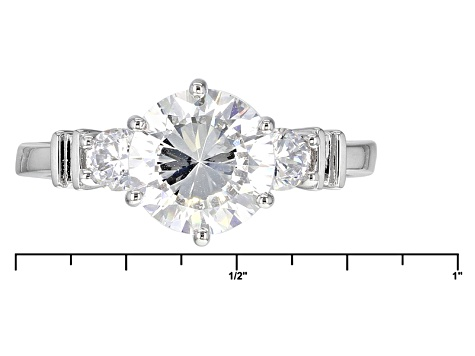 Cubic Zirconia Silver Ring With Band 4.54ctw (2.82ctw DEW)