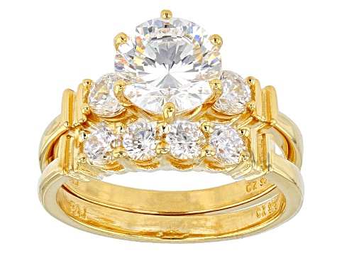 Cubic Zirconia 18k Yellow Gold Over Silver Ring With Band 4.54ctw (2.82ctw DEW)
