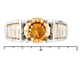 Brown And White Cubic Zirconia Silver Ring 5.24ctw (3.84ctw DEW)
