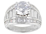 Cubic Zirconia Rhodium Over Sterling Silver Ring 9.27ctw (4.88ctw DEW)