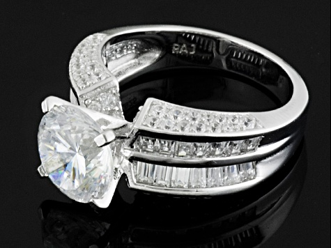 White Cubic Zirconia Rhodium Over Silver Ring 6.87ctw
