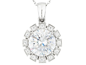 Cubic Zirconia Silver Pendant With Chain 6.33ctw (4.05ctw DEW)
