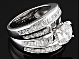 White Cubic Zirconia Rhodium Over Silver Ring 7.34ctw