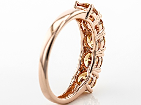 Brown Cubic Zirconia 18k Rose Gold Over Silver Ring 3.48ctw