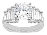 Cubic Zirconia Rhodium Over Sterling Silver Ring 4.52ctw