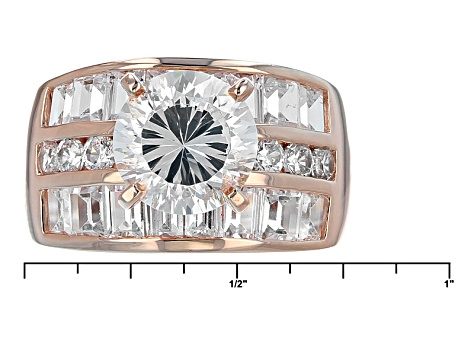 White Cubic Zirconia 18k Rose Gold Over Sterling Silver Ring 9.21ctw
