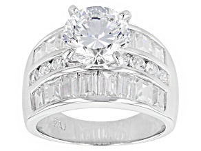 White Cubic Zirconia Rhodium Over Sterling Silver Ring 9.21ctw