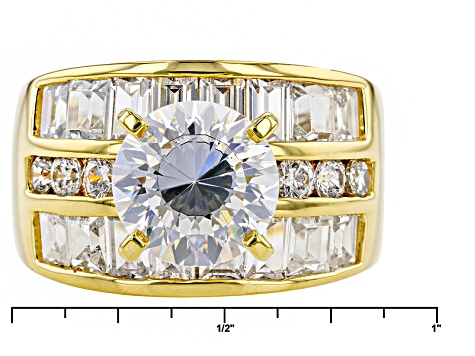 White Cubic Zirconia 18k Yellow Gold Over Sterling Silver Ring 9.21ctw