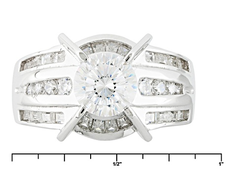 Cubic Zirconia Rhodium Over Sterling Silver Ring 3.64ctw (2.01ctw DEW)