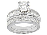 Cubic Zirconia Rhodium Over Sterling Silver Ring With Band 4.90ctw