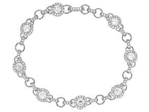 White Cubic Zirconia Rhodium Over Silver Bracelet 7.21ctw