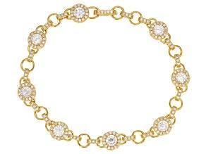 White Cubic Zirconia 18k Yg Over Silver Bracelet 7.21ctw