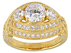 White Cubic Zirconia 18k Yg Over Silver Ring 4.88ctw