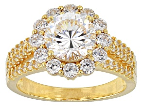 White Cubic Zirconia 18k Yg Over Silver Ring 5.09ctw