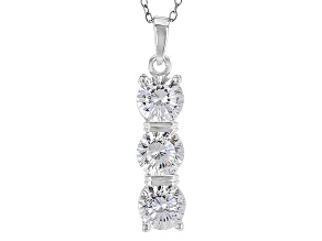 White Cubic Zirconia Rhodium Over Silver Pendant With Chain 4.08ctw
