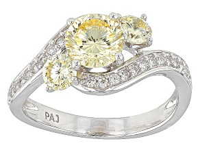 Yellow And White Cubic Zirconia Rhodium Over Silver Ring 3.07ctw