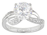 White Cubic Zirconia Rhodium Over Sterling Silver Ring 4.93ctw